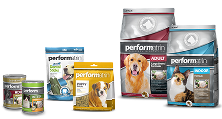 A collection of Performatrin pet products
